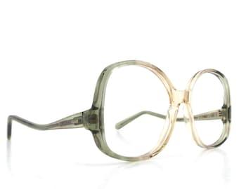 5faf7493f6 vintage 70s NOS eyeglasses oversized round moss olive green peach plastic frame  women eyewear retro eye glasses usa mid century 50 14-135