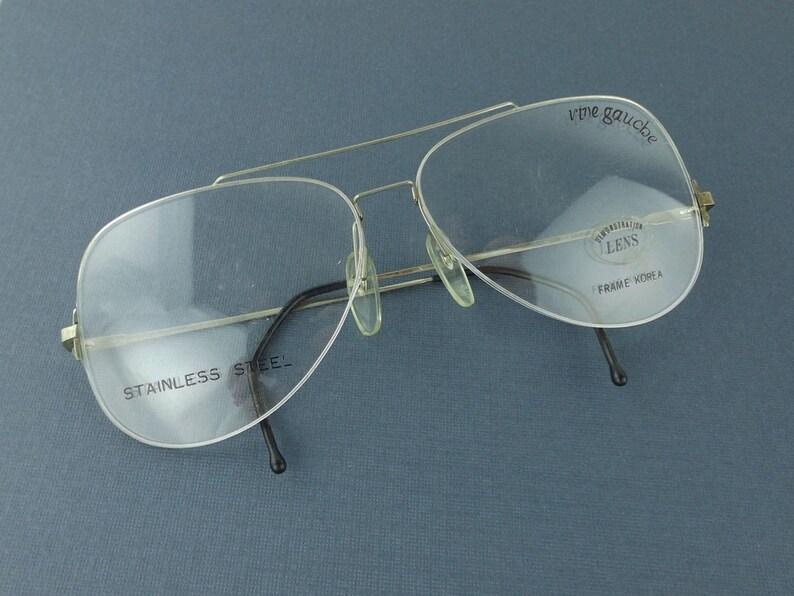 480046bb211 Vintage eyeglass frame silver metal wire oversize half rim