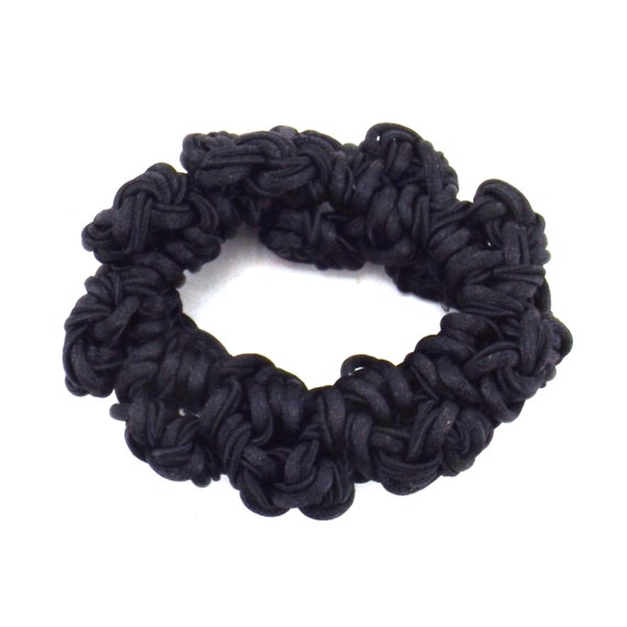 black satin knots scrunchie | decorative hair tie… - image 5