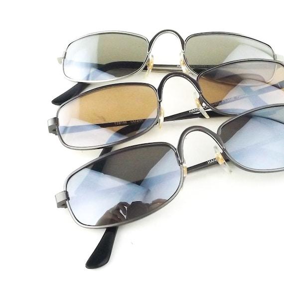 Deadstock Genuine Vintage 90s Style Hip Hop Rectangle Sunglasses Gunmetal Frame