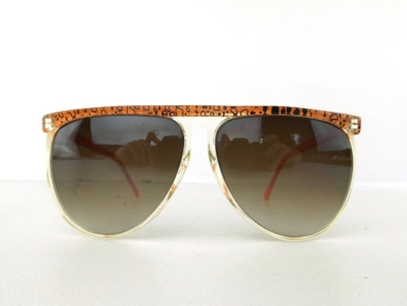 04a9ef2424 Orange graffiti sunglasses vintage 80s oversize sun glasses