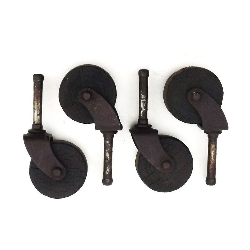 Antique Wood Wheels Furniture Casters Hardware Rustic Home Etsy