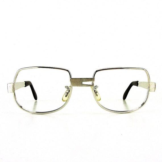 vintage eyeglasses brushed silver metal eyeglass frames square | Etsy