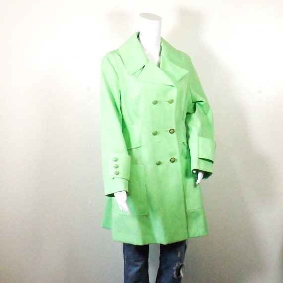 60s 70s vintage lime green polyester jacket women
