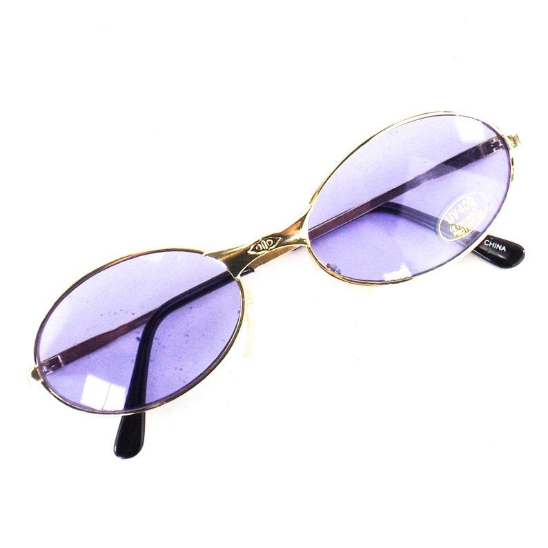gold metal frame sun glasses purple tinted lens vintage NOS 90s 2000s oval sunglasses