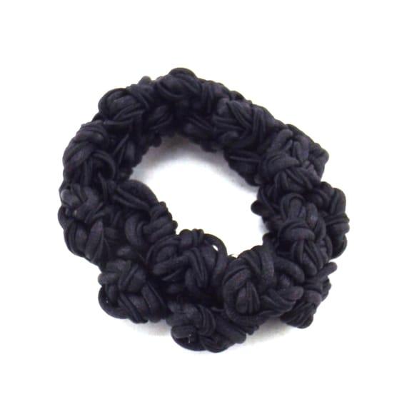 black satin knots scrunchie | decorative hair tie… - image 2