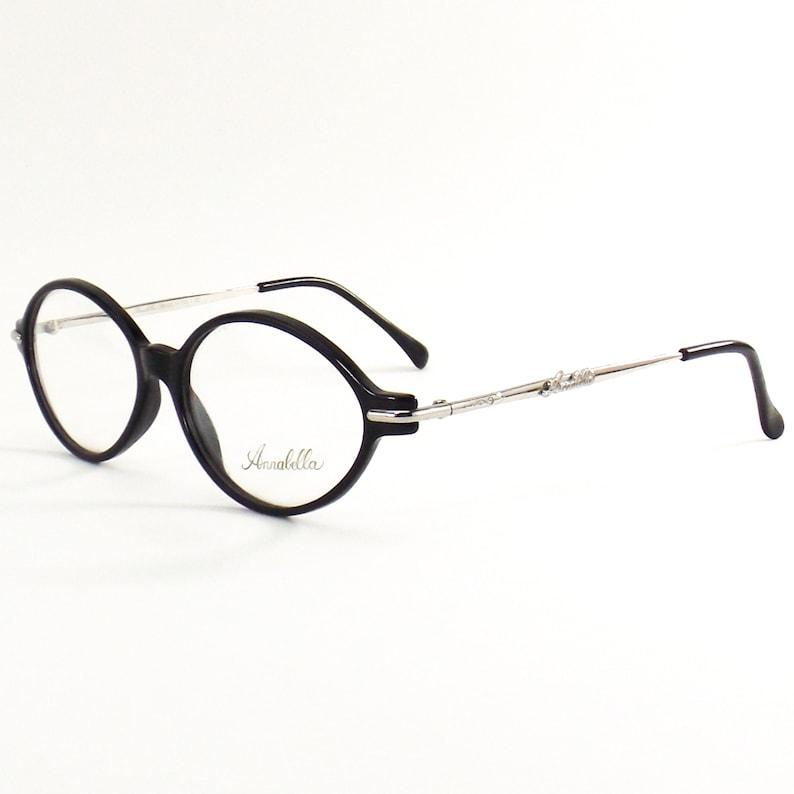 Annabella italian eyeglasses black oval silver eye glasses vintage 80s NOS frame italy