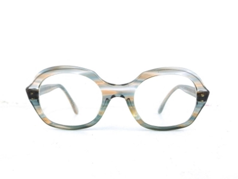 40d0b78bc7 Striped eyeglass frames vintage round eyeglasses gray blue