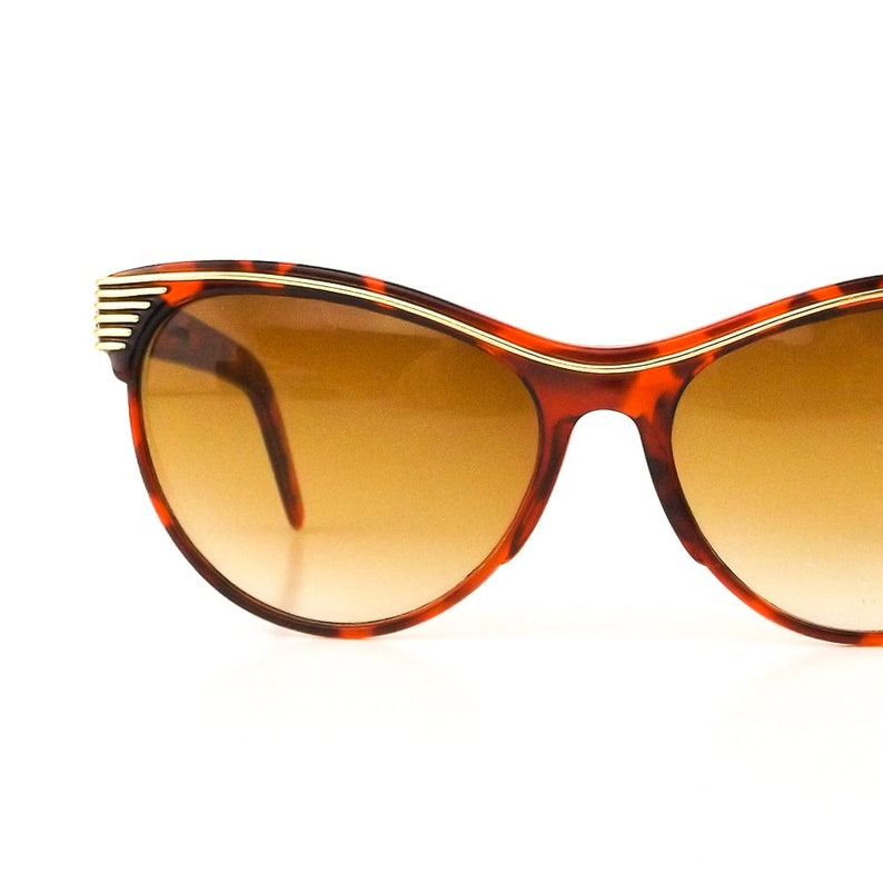 46249e860ad8 cat eye sunglasses 80s vintage sun glasses womens gold stripe | Etsy
