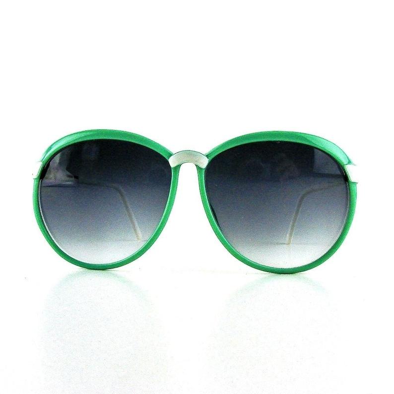 8c38975b3 Round oversize sunglasses green and white plastic sun | Etsy