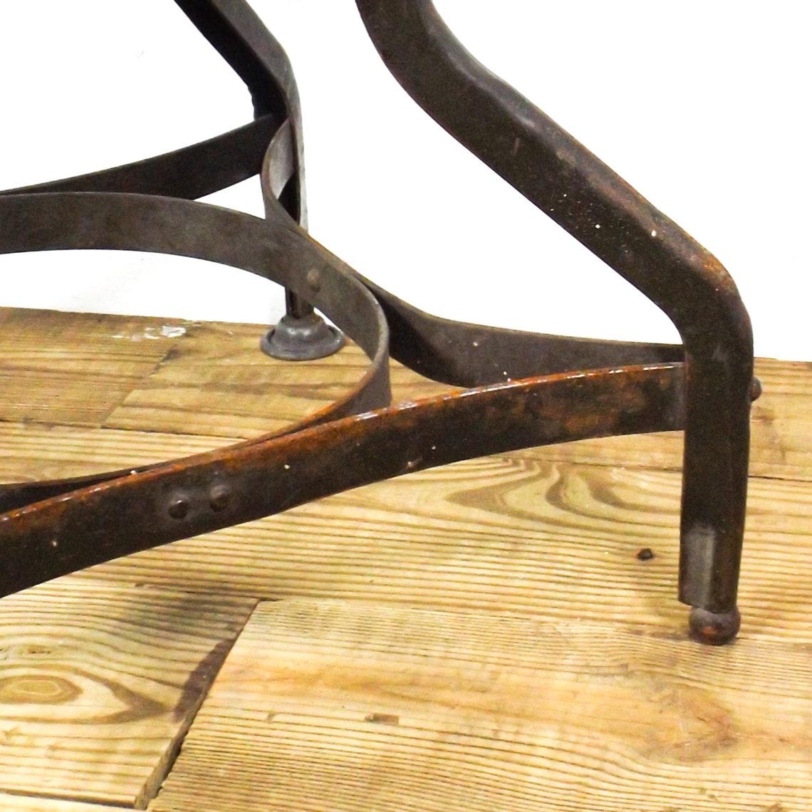vintage industrial stool short wood seat toledo metal uhl
