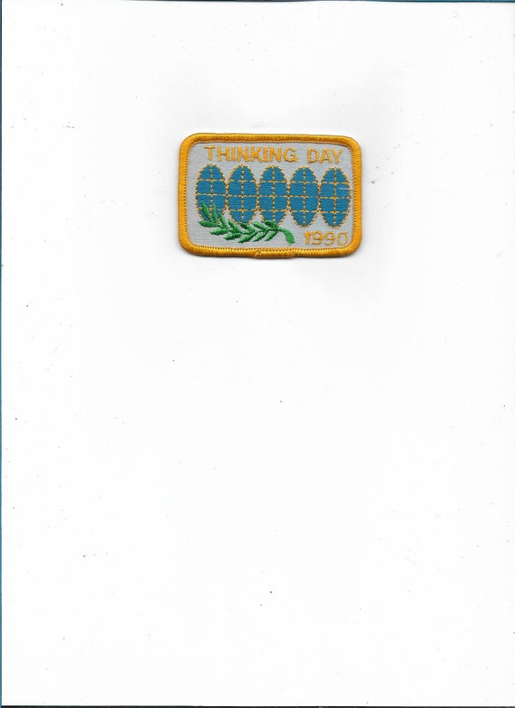 Thinking Day 1990 embroidered patch vintage 90s NOS