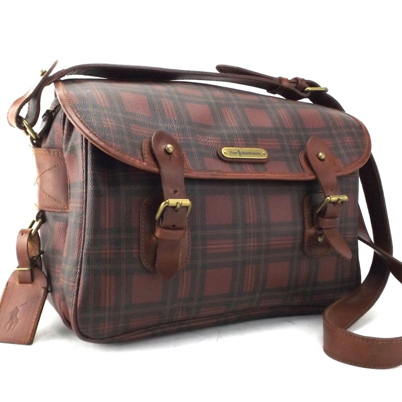 Men Messenger Ralph Women BagVintage 80s Or Lauren Tartan Plaid For Shoulderbag Leather Polo txshCQdr