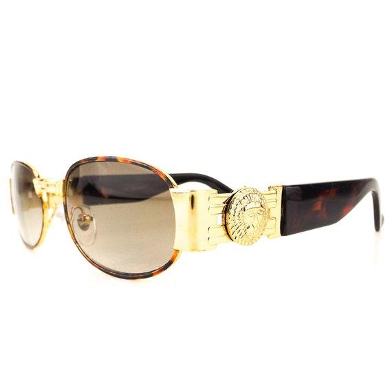e678e420ed3 versace style sunglasses gold medusa head 90s tortoise sun