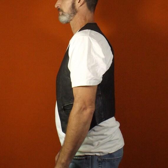 vintage 80s 90s black leather biker vest mens medi