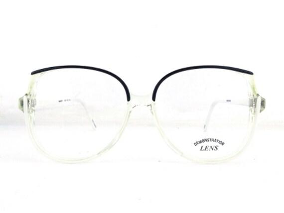 black browline eyglasses white eyeglass frames 80s vintage | Etsy