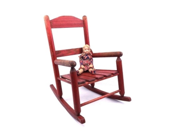 image 0 - Vintage Childrens Rocking Chair Red Wood Chair Kids Furniture Etsy