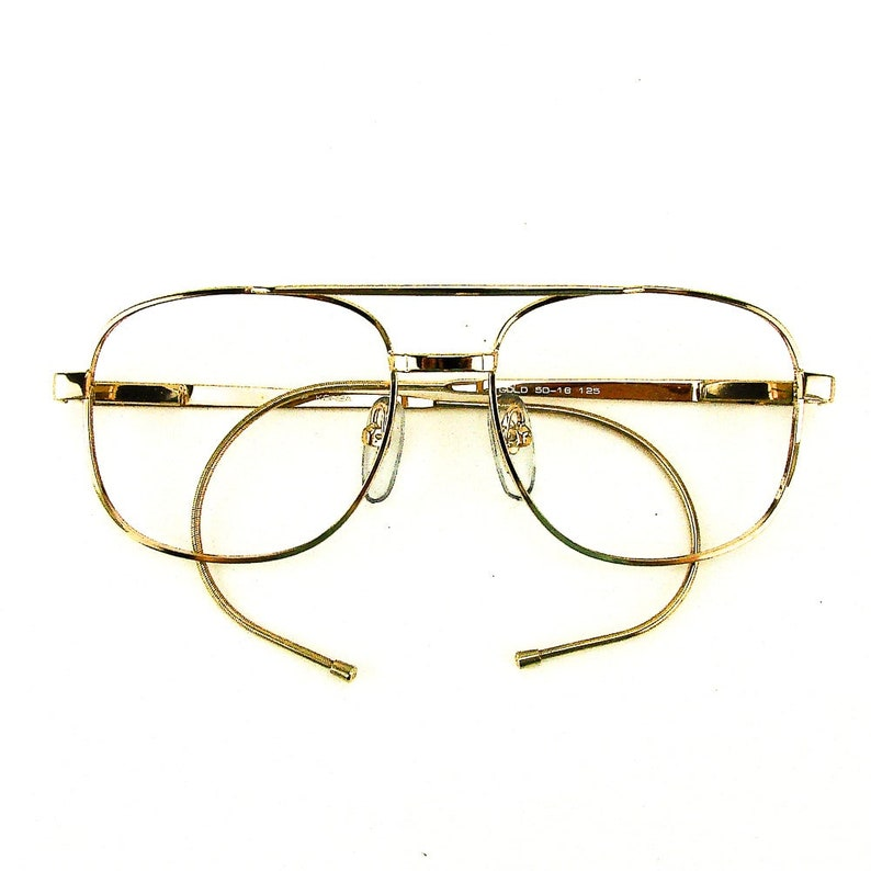 24b3d499fbaa Gold cable temple eyeglass frames vintage square eye