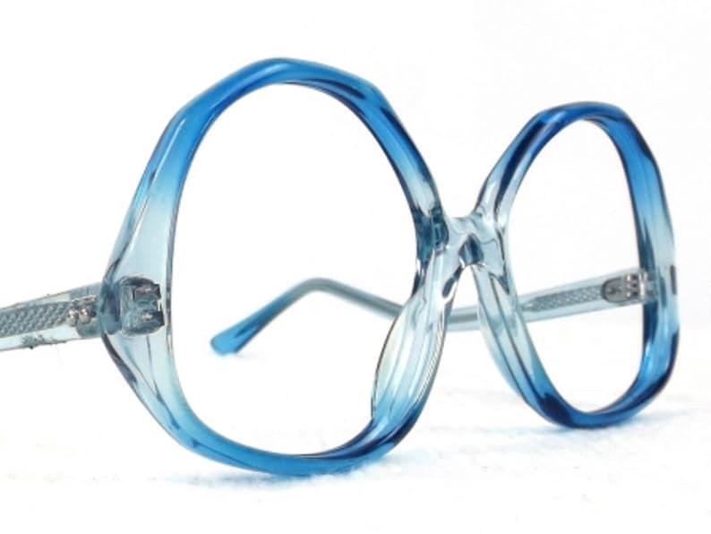 7f37e7009d 70s eyeglass frame blue vintage eyeglasses oversize drop
