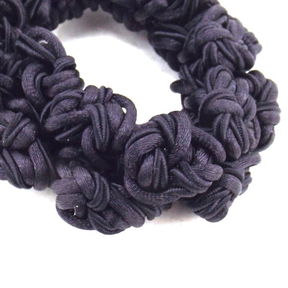 black satin knots scrunchie | decorative hair tie… - image 4