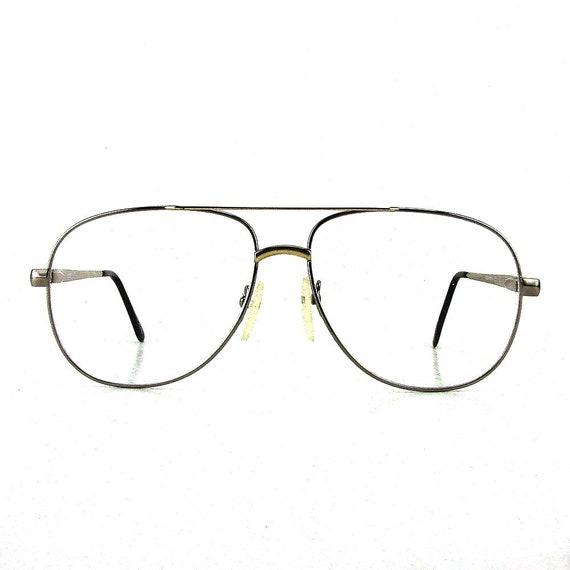 vintage oversize glasses eyeglasses silver metal eyeglass | Etsy