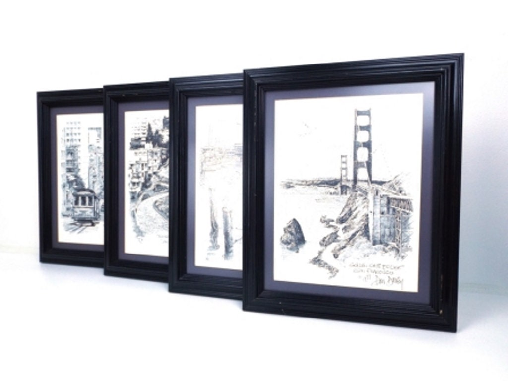 vintage 70s wall art san francisco pencil drawing art print wall ...