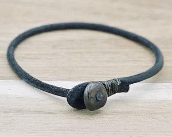 Mens womens unisex black single wrap leather bracelet