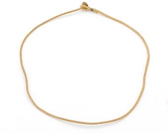 Mens womens unisex thin dark beige leather necklace