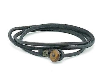 Mens womens unisex black triple wrap leather bracelet