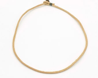 Mens womens unisex beige leather necklace