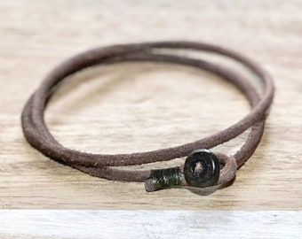 Mens womens unisex brown double wrap leather bracelet