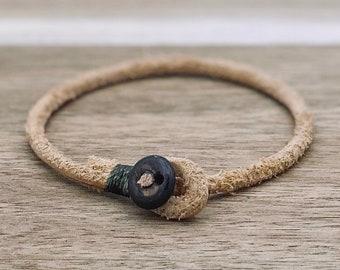 Mens womens unisex beige natural single wrap leather bracelet