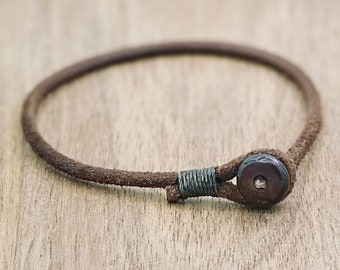 Mens womens unisex brown single wrap leather bracelet