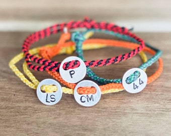 Mens women unisex custom thin braided adjustable friendship bracelet with personalised silver disc - choose your colours