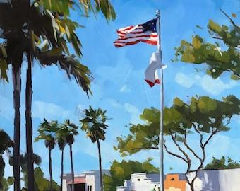Downtown Carpinteria Art Print - Linden Avenue Oil painting by Sharon Schock 8x10, 11x14, 16x20
