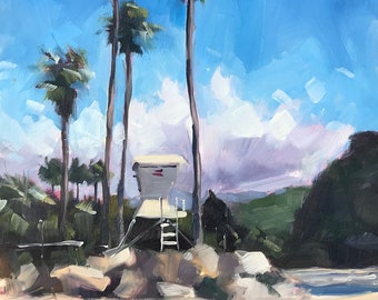 Hendry's Beach Art Print - Santa Barbara Oil painting by Sharon Schock 12x16