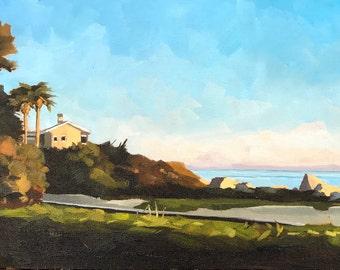 Ocean Landscape Oil Painting -  8x16 - Padaro Beach Sunset by Sharon Schock