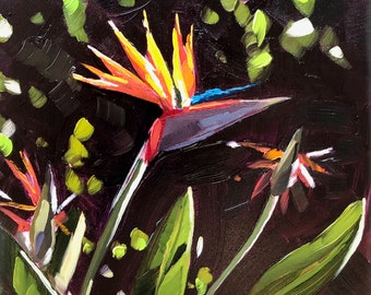 Floral Oil Painting -  6x8 - Bird of Paradise by Sharon Schock