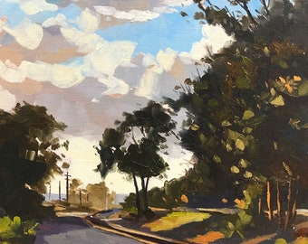 Sunset in Carpinteria  -  8x10 - Landscape Oil Painting by Sharon Schock
