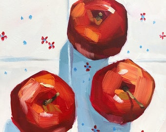 Still life painting- The Standoff - 6x6 apple oil painting by Sharon Schock
