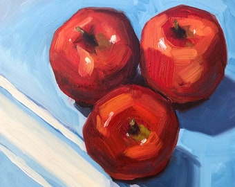 Still life painting- Three Apples - 6x6 fruit oil painting by Sharon Schock