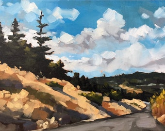 Oil Painting on canvas - California Redwoods 9x12 - Landscape Painting by Sharon Schock