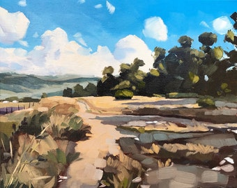 California Oil Painting -  8x10 - Carpinteria Landscape painting by Sharon Schock