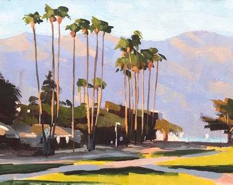 Shoreline Park Santa Barbara Art Print - gouache painting by Sharon Schock 10x15, 11x14, 12x16