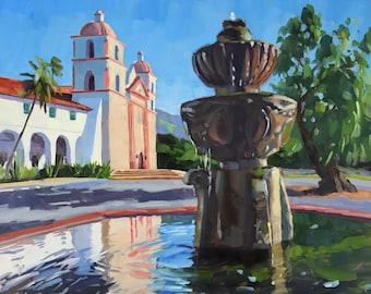 Mission Santa Barbara Art Print - Oil painting by Sharon Schock 8x10, 11x14, 16x20, 24x30
