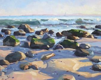 Hammond's Beach Rocks Art Print - Seascape Oil painting by Sharon Schock 8x10, 11x14, 16x20, 24x30