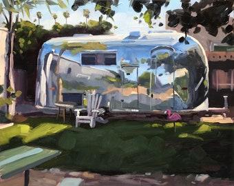 Carpinteria Airstream Art Print - Camper Oil painting by Sharon Schock 8x10, 11x14, 16x20