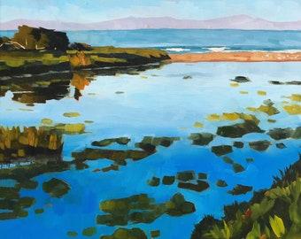 California Seascape Oil Painting -  16x20 - Carpinteria Landscape painting by Sharon Schock