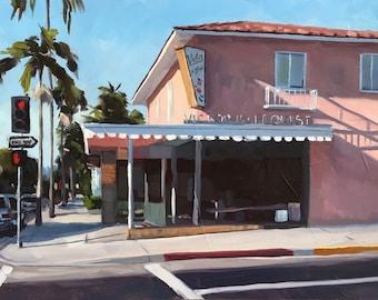 Victor the Florist Art Print - Santa Barbara Oil painting by Sharon Schock 10x20, 12x24