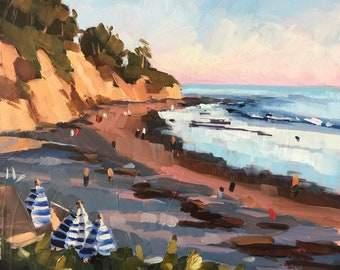 Hendry's Beach Golden Hour Art Print - Seascape Oil painting by Sharon Schock 12x12, 16x16